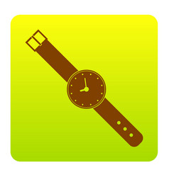 watch sign brown icon at vector image