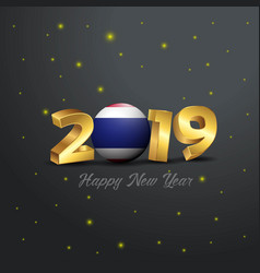 2019 happy new year thailand flag typography vector image