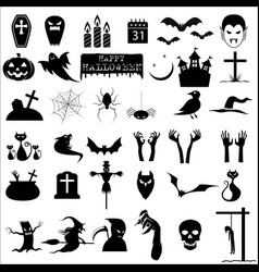 36 halloween icons vector image