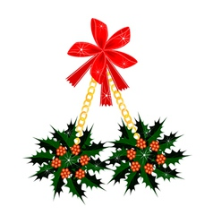 A Beautiful Christmas Holly with A Red Bow vector image