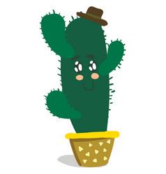 A smiling cute cactus plant emoji with arms is vector