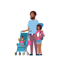 african father daughter baby son in stroller full vector image