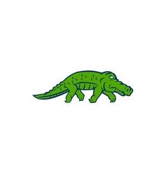 Anxious Alligator Tiptoing Retro vector image