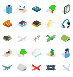 arrival icons set isometric style vector image vector image