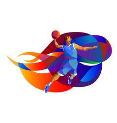 basketball player performs jump shot vector image