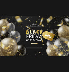 black friday sale background with balloons and vector image