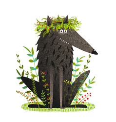 Black friendly cute wolf smiling in grass vector