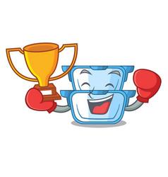 boxing winner cartoon double boiler for the cake vector image