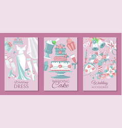 bride accessories set cards posters vector image