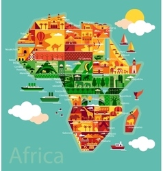 Cartoon map of Africa vector image