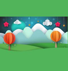 cartoon paper landscape tree flower cloud vector image