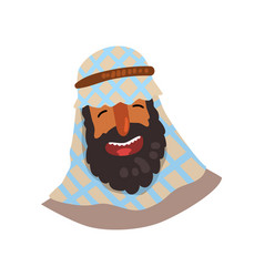 Cheerful egyptian man in keffiyeh cartoon vector