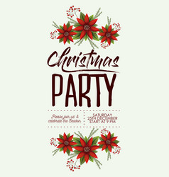 christmas party card with colorful poinsettia vector image