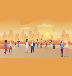 City public park in sunset people communication vector