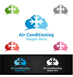 Cloud snow air conditioning and heating services vector