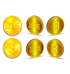 Coin world electronic currency in several 3d vector