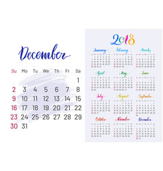 Colorful planner 2018 december separately vector