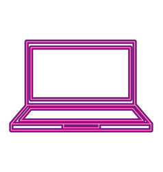 computer device neon white background vector image