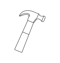 Contour line monochrome with hammer vector