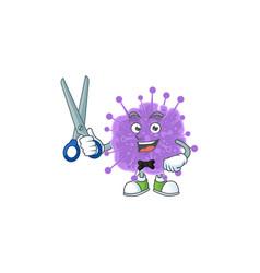 Cool barber coronavirus influenza mascot design vector
