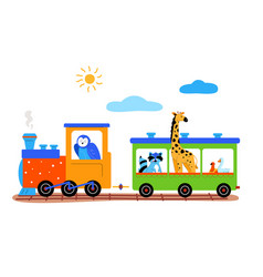 Cute animals on a train flat vector