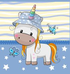 Cute cartoon unicorn in panama hat vector