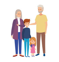 Cute grandparents couple with grandson and vector