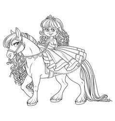 Cute little princess riding on a white horse vector