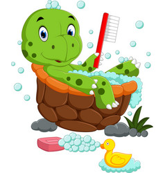 Cute turtle bathing vector