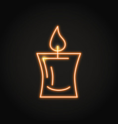 decorative candle icon in neon line style vector image