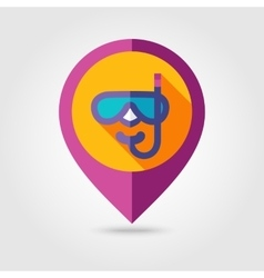 Diving Mask flat mapping pin icon with long shadow vector image