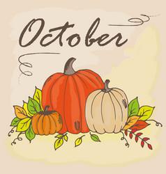 Doodle oct pumpkin vector