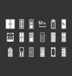 door icon set grey vector image