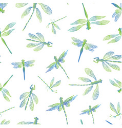 Dragonflies with lace design wings and fresh blue vector