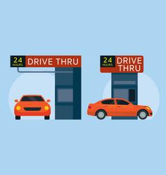 Drive thru fast food restaurant vector