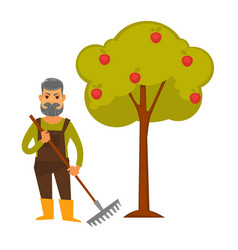 elderly man with rake stands beside apple tree vector image