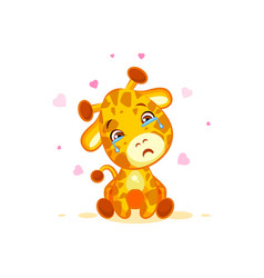 emoji crying tears character cartoon giraffe miss vector image