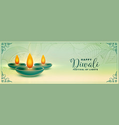 Ethnic happy diwali festival holiday banner design vector