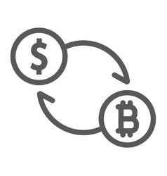 exchange line icon bitcoin and money vector image