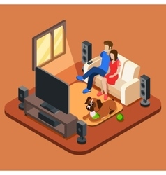 Family in the living room watching TV 3d vector image