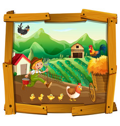 farmer and chickens in the farm vector image