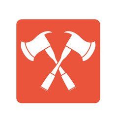 Fire axes crossed block line style icon vector