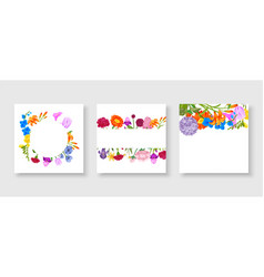 floral frame collection set cute cartoon summer vector image