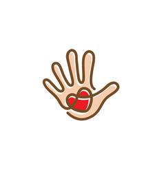 foundation hand heart symbol logo vector image