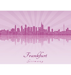 Frankfurt skyline in purple radiant orchid vector image