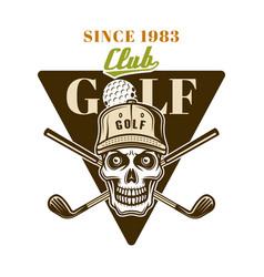 golf emblem badge label logo with skull vector image
