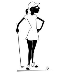 Golfer woman on the golf course isolated vector