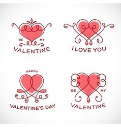Graceful Floral Valentine Line Style Heart Set vector