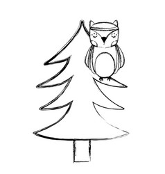 Grunge ethnic owl animal in pine tree vector