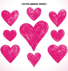 Grunge hearts set vector image